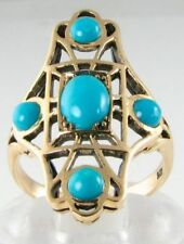 LONG FINGER LARGE VICTORIAN INS 9CT 9K PERSIAN TURQUOISE RING FREE RESIZE