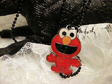 Handmade ELMO Red Colored ELMO Charm Necklace Black Ball Chain/Jewelry/Women