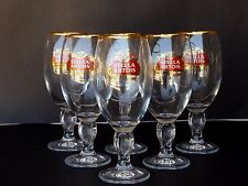 New Set Lot Of 6 Stella Artois Glasses Chalices 33 cl Bar Pub Beer GOLD RIM