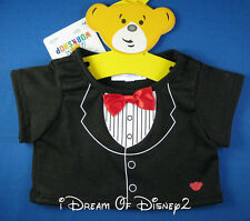 BUILD-A-BEAR BLACK TUXEDO TEE SHIRT RED TIE BOY TEDDY SIZE CLOTHES NEW