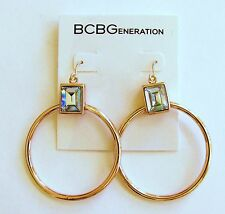 NEW BCBG Generation ROSE GOLD HOOP STYLE+CRYSTAL EARRINGS-BC40349