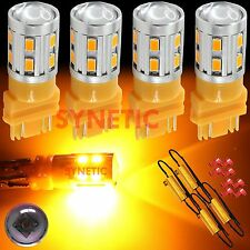 4X 3157 High Power CREE Amber Yellow Turn Signal LED Light Bulbs + 4 Resistors