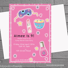 Girly sleepover pyjamas pamper Slumber Fête D'Anniversaire Invitations X 12 + Envs