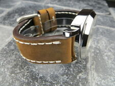 New 22mm Big Assolutamente Leather Strap Brown Watch Band OMEGA Seamaster 22 mm