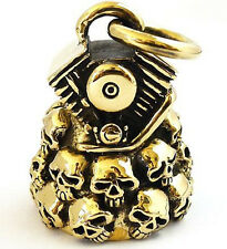 BIG BIKER RIDE BELL SKULL MOTORCYCLE ENGINE GOLD BRASS HUGE PENDANT NEW
