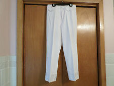 THINK TANK WHITE CROP PANTS WITH PINK TOPSTITCHING - SIZE 4 - INSEAM 24 - EUC