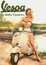 "VESPA Scooter Vintage anuncio/cartel 8""X6"" Metal Sign/placa VES02"