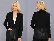 NEW DKNY Jeans Petite Mixed Media Faux Leather Blazer X3340128 Black PM