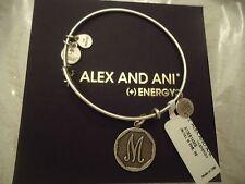 Alex and Ani Initial M Charm Bangle Bracelet Russian Silver New W/Tag Card & Box
