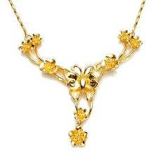 """Charms 24k Yellow Gold Filled Womens Necklace 20"""" butterfly Chain Fashion Link"""