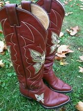 Vintage JUSTIN WOMENS BUTTERFLY exotic  BOOTS 5.5