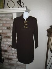 GORGEOUS! St. John Collection by Marie Gray Santana Brown Knit Zipper Dress sz 2