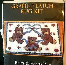 Graph N Latch Rug Kit Bears and Hearts MCG Textiles 26 x 20 inches NIB