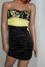 SEXY SPEECHLESS YELLOW & BLACK PAISLEY STRAPLESS STRETCH WIGGLE  DRESS S XS