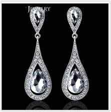 Romantic Sparkling Silver Diamante Crystal Dangle Drop Earring Party/Bridal Gift