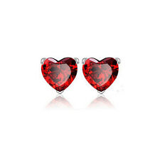 Kids Jewelry 18K White Gold Plated Red Ruby Cute Heart Stud Earrings for Girls
