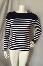 Lauren Ralph Lauren Cotton Navy Blue/White Striped Pullover Sweater Size S NWOT!
