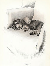 DANDIE DINMONT TERRIER CHARMING DOG GREETINGS NOTE CARD CUTE PUP IN CHAIR