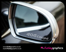 PEUGEOT 406 COUPE LOGO MIRROR DECALS STICKERS GRAPHICS x3 IN SILVER ETCH VINYL