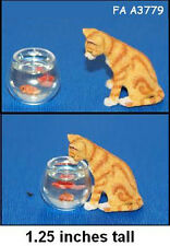 CAT & FISH BOWL1:12 Scale Dollhouse Miniature Pet Adult Collectable FALCON