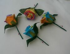GAY PRIDE RAINBOW COLOURS BUTTONHOLES  CORSAGE WEDDING FLOWERS PINK GREEN YELLOW