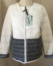 New Hatley REVERSIBLE Cream & Black Pattern Down Lightweight Jacket sz M