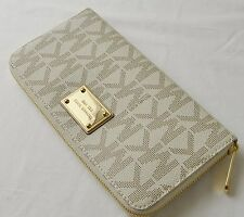 Michael Kors Vanilla Signature Jet Set Travel Large Zip Around Wallet