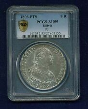 BOLIVIA SPANISH COLONIAL CHARLES IV  1806-PJ 8 REALES COIN CERTIFIED PCGS AU55