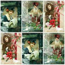 12 VINTAGE YE OLDE Christmas Toppers, Ideal for Embellishments, Card Making