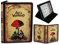 For Apple iPad 2 3 4 Alice In Wonderland Classic Book Style Antique Case Cover