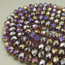20 pcs Big 14 mm AB Dark Purple Faceted Rondelle Glass Crystal Beads -CC441