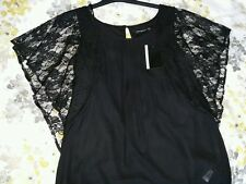 Ladies Sheer Black Evening Party Top Lace Sleeves - Size 8