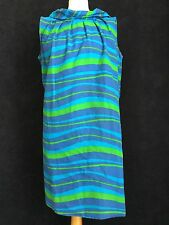 TRUE VINTAGE 50's 60's Blue STRIPE SUN TENT DRESS RARE M 14 FUN