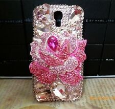 3D Pink Bling Rose Flower Diamond Case Cover For Samsung Galaxy Note 4 NEW  R32