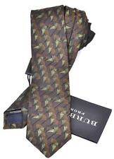 NEW BURBERRY PRORSUM $175 MID BROWN SILK FAN PATTERN SKINNY NECK TIE~ITALY