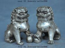 Old Chinese FengShui Silver Guardion Door Fu Foo Dog Lion beast Statue Pair