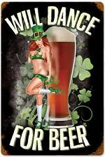 Lethal Threat Pin Up Girl Irish Dance For Beer Metal Sign ManCave Garage LETH067