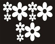 22 x White Daisy Shaped Flower stickers Car Window Bedroom Mirror easy stick fun