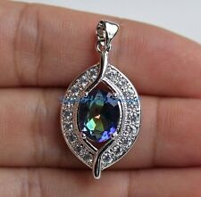 18K White Gold Filled - Blue MYSTICAL Rainbow Hollow Topaz Leaf Ladies Pendant