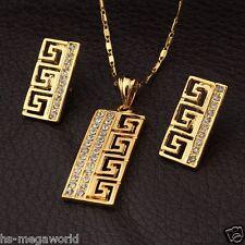 Schmuck Set Halskette Ohringe Damen 18k Gold pl. Collier Geschenk Luxus Kristall