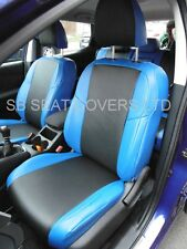 TO FIT A FIAT DOBLO CAR SEAT COVERS BLACK / NEON BLUE LEATHERETTE