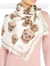 "ALEXANDER MCQUEEN ivory Paisley LACE SKULL modal & silk 52"" scarf NEW Authentic!"