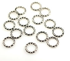 100 Gunmetal Plated Open Twisted Jump Rings 8MM 16 Gauge
