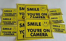 VIDEO SURVEILLANCE Security Decal  Warning Sticker (smile you're )set of 10 pcs