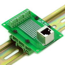 RJ45 8P8C Interface Module with Simple DIN Rail Mounting feet, Vertical Jack.