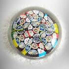 Millefiori vintage glass paperweight with colorful canes - FREE SHIPPING