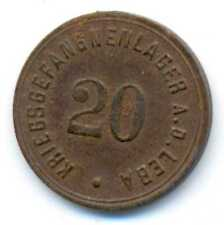 Germany WWI German Prisoners Camp A.D. Leba Notgeld Iron Coin 20 Pfennig VF