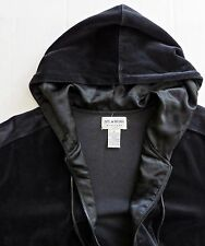 NYL WEAR NEW YORK LAUNDRY Hooded Hoodie Jacket Black Velour Velvet Zip Sz S M