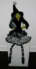"COLLECTIBLE GREEN FACE WITCH BOOK MAGIC SPELLS  HALLOWEEN 32"" SHELF SITTER DOLL"