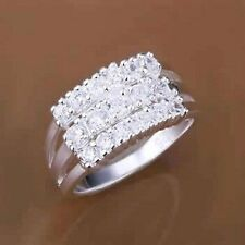 Sterling Silver Faux Diamond Rhinestone Coctail Wedding Anniversary Ring Size 8